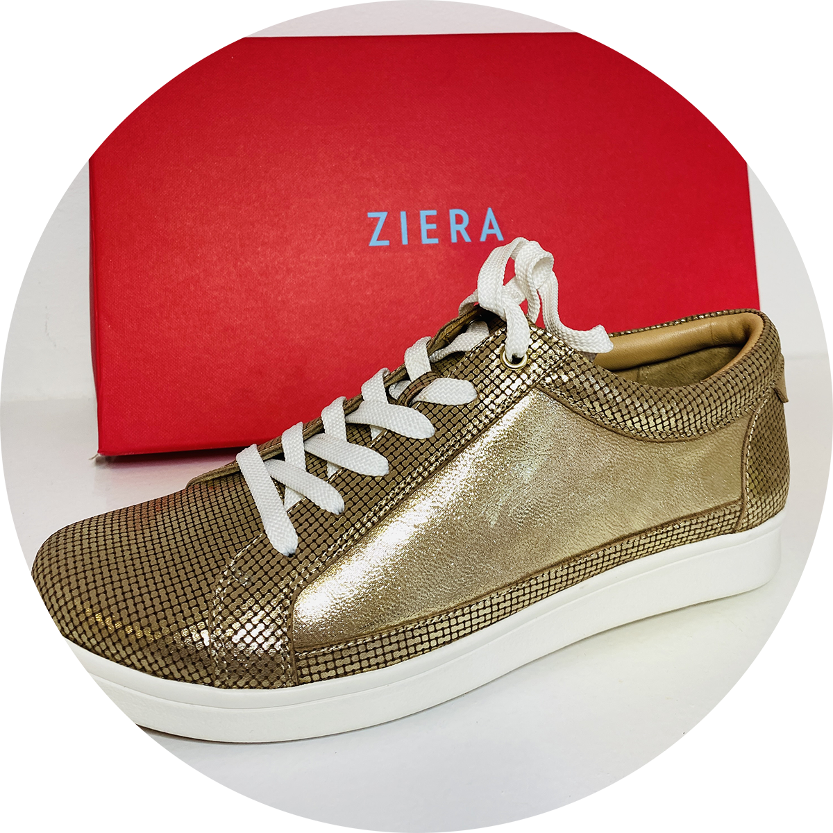 Orthotics Shoes - Ziera low-top gold sneaker - SO Podiatry